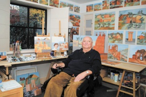 Michael Graves in his studio DSC_0043 ret, 13 inches wide, credit Jon Naar, 2011 (1)